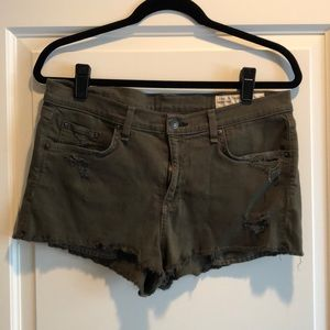 RAG & BONE Olive Green Denim Shorts, Size 31